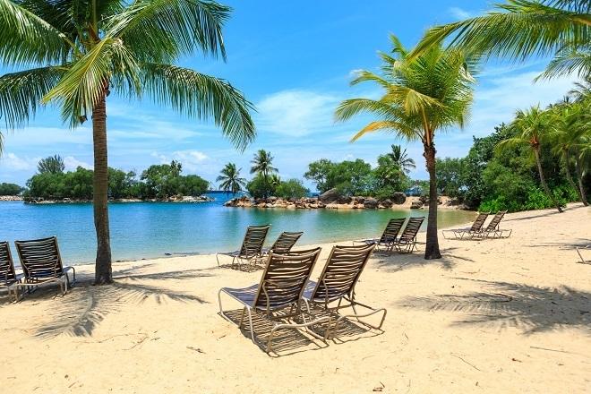 The Beach of Sentosa Island beach in Singapore